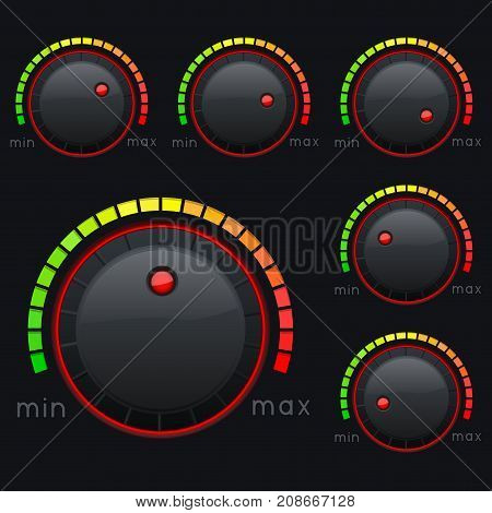 Black knob buttons. Min and max level with colored scale. Vector 3d illustration