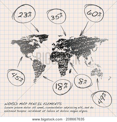 World Map Globe pencil elements. Vector Illustration.