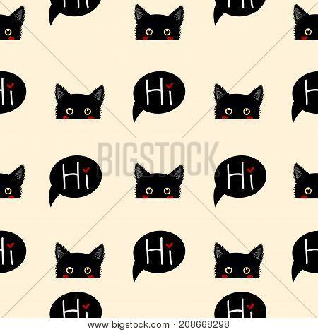 Black Cat Sneaking on Beige Ivory Background. Vector Illustration.