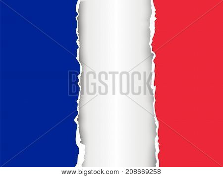 Ripped Paper France Flag Vector