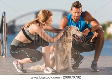 Sports Couple With Dog
