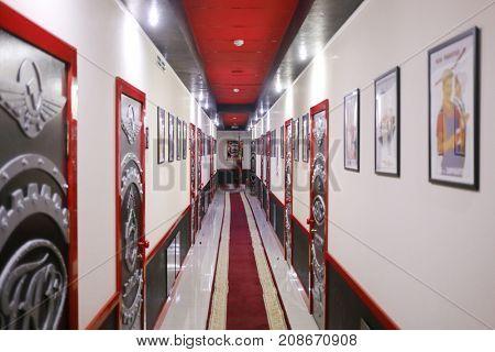 KAMENSK-SHAKHTINSKY, RUSSIA - JUN 20, 2017: Hallway in Legends of USSR hotel