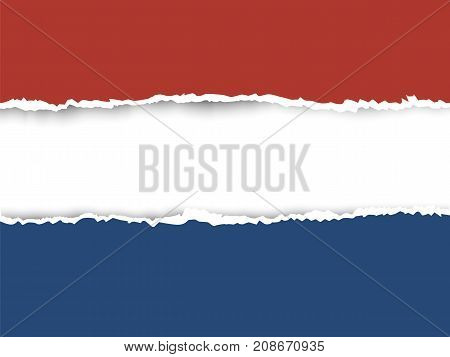 Ripped Paper Netherlands Flag Vector
