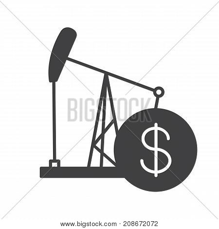Oil trade glyph icon. Silhouette symbol. Oil derrick with dollar sign. Negative space. Vector isolated illustration