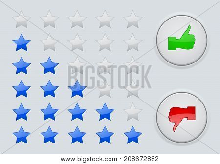 Rating stars. Interface element. Like button. Vector illustration