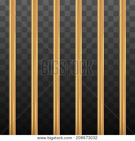 Gold prison bars on black transparency. Golden cage concept. Vector illustration.