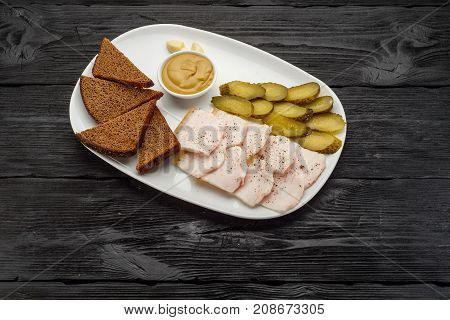 Traditional Snacks For Vodka: Onion, Lard, Pickled Cucumbers, Garlic And Mustard. Dark Wooden Backgr