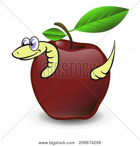 Red Apple and Yellow Worm Isolated on White Background