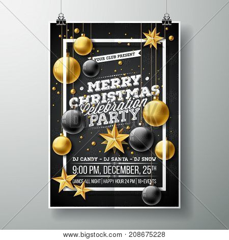 Vector Merry Christmas Party Flyer Illustration with Typography and Holiday Elements on Black background. Invitation Poster Template