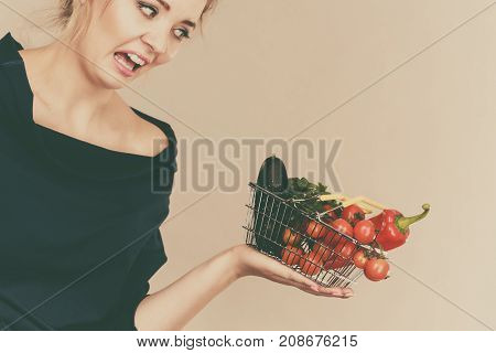 Woman With Vegetables, Negative Face Expression