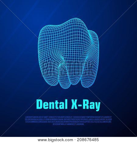 Dental X-Ray. Tooth Wireframe Mesh. Connection Structure Vector Illustration. Medicine, health concept.