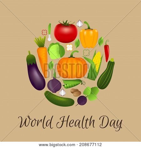 World Health Day Concept With Vegetables . Advertisement Of  Hea