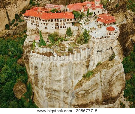 Beautiful aerial photo of the rock formations and monasteries of Meteora Greece.