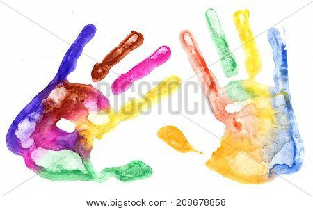 Multicolored hand prints on the white background