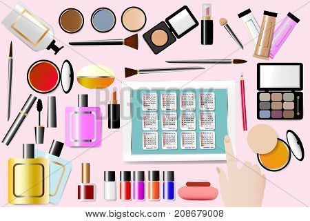 Cosmetic accessories are around a Calendar for 2018 year in the center of the illustration. All is on the pink background. Female hand is touching a tablet. All potential trademarks are removed.