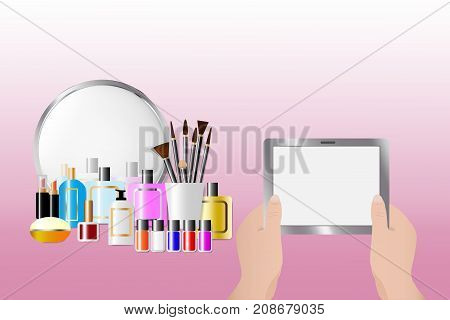 Cosmetic accessories standing in front of a mirror on the pink background. Female hands are holding a tablet with empty screen ready for your text. All potential trademarks are removed.