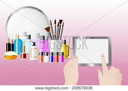 Cosmetic accessories standing in front of a mirror on the pink background. Female hands are holding a touching tablet with empty screen ready for your text. All potential trademarks are removed.