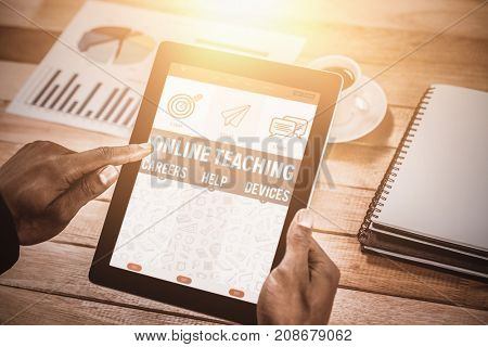 Online Teaching Poster against close up of businessman using digital tablet
