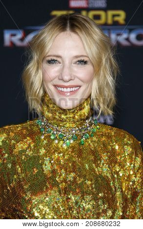Cate Blanchett at the World premiere of 'Thor: Ragnarok' held at the El Capitan Theatre in Hollywood, USA on October 10, 2017.