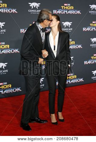 Jeff Goldblum and Emilie Livingston at the World premiere of 'Thor: Ragnarok' held at the El Capitan Theatre in Hollywood, USA on October 10, 2017.