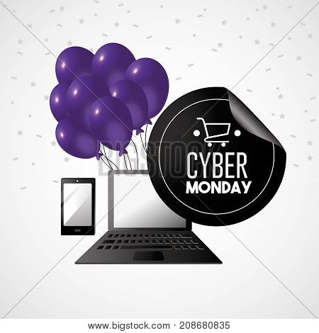 cyber monday offer to shopping online with laptop technology vector illustration