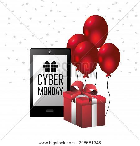 cyber monday offer to shopping online with smartphone technology vector illustration