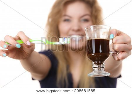 Happy Woman Holding Toothbrush And Coffee