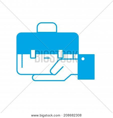 silhouette businessman with briefcase portfolio in the palm hand vector illustration