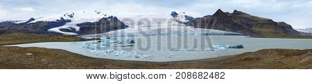 Panoramic view of Vatnajokull glacier (Water Glacier) is the largest and most voluminous ice cap in Iceland
