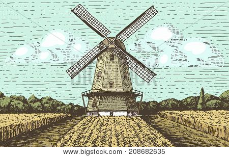 Windmill landscape in vintage, retro hand drawn or engraved style, can be use for bakery logo, wheat field with old building.