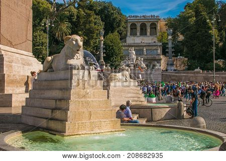 ROME, ITALY - OCTOBER 10, 2017: Steps lead from the Piazza del Popolo to the Pincio to the east, Rome