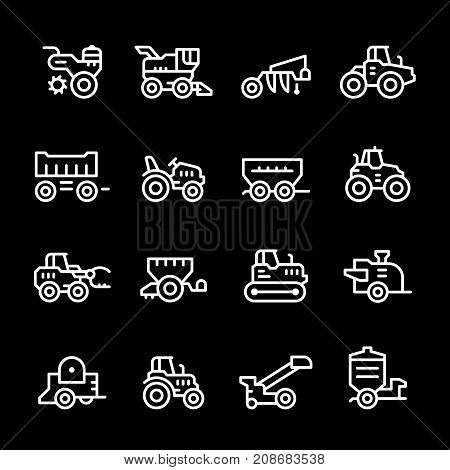 Set line icons of agricultural machinery isolated on black. Vector illustration