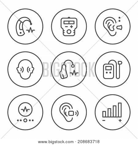 Set round line icons of hearing aid isolated on white. Vector illustration