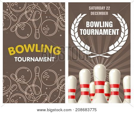 Bowling party flyer with skittles and bowling balls