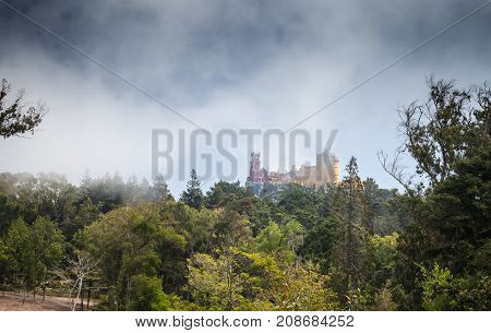 Pena Palace On The Top Of The Sintra Mountains