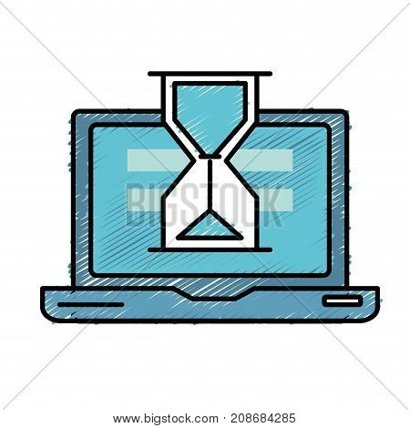 laptop technology searching with hourglass icon vector illustration