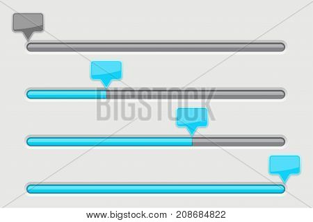 Slider bar. Gray user interface with blue tags. Vector 3d illustration