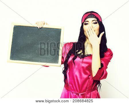 Surprised Sexy Girl In Silk Robe Holding Black Board