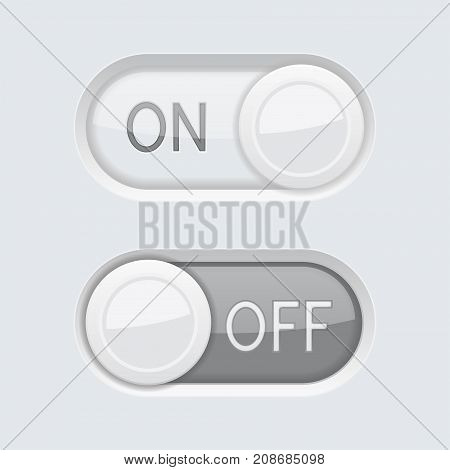 Toggle switch button. ON and OFF. Vector 3d illustration