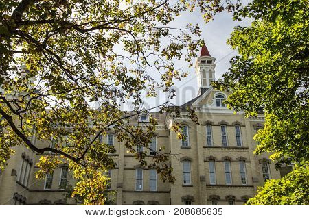 Traverse City, Michigan, USA - October 1, 2017: Exterior of the former Traverse City State Hospital. Established in 1881,  the facility was closed in 1989 and is now being renovated as a tourist site.