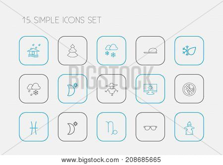 Set Of 15 Editable Weather Outline Icons. Includes Symbols Such As Crescent With Star, Eyeglasses, Snow Person And More