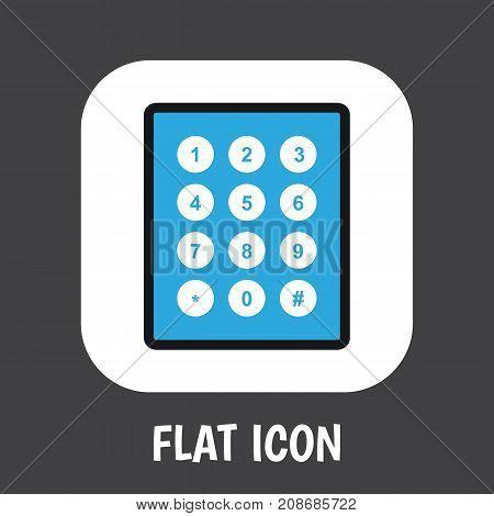 Vector Illustration Of Safety Symbol On Keypad Flat Icon