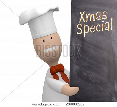 Chef with a chalkboard and the words xmas special Christmas menu concept, 3d rendering