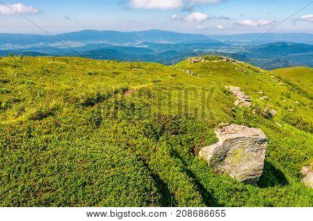 Hills Of Mountain Ridge With Huge Boulders