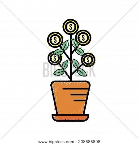 plant with coins leaves inside flowerpot vector illustration