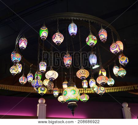 Colorful lanterns of the Arab countries. This lamp hanging in the shopping malls.
