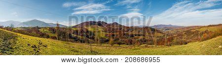 Panorama Of Mountainous Rural Area In Autumn