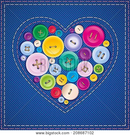 Heart from buttons