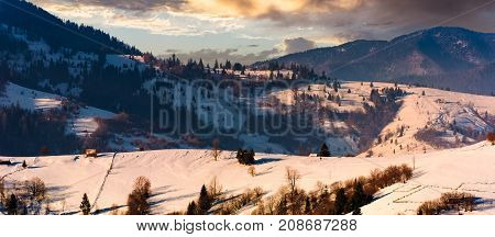 Gorgeous Winter Landscape In Mountainous Rural Are