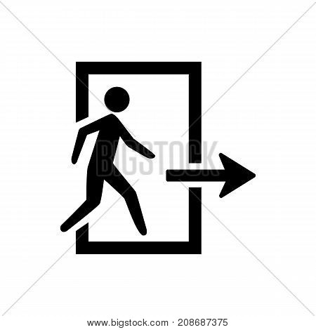 Icon of emergency exit. Doorway, running, person. Safety signs concept. Can be used for topics like faster evacuation, public place, fire exit